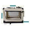 Světle béžová látková přepravka pro psa - kennel S 60x42x44 cm