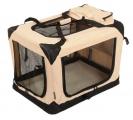 Béžová látková přepravka pro psa - kennel L 81x58x58 cm