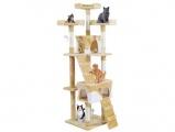 Škrabadlo pro kočky Amy béžové s bílou 170 cm