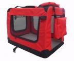 Červená látková přepravka pro psa - kennel L 82x58x58 cm