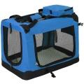 Modrá látková přepravka pro psa - kennel M 70x52x50 cm